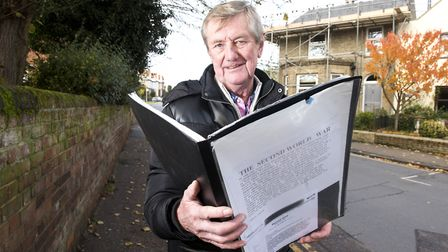 Brian Grint outside Coburg House in Acle. Builders have found slates with German markings possibly f
