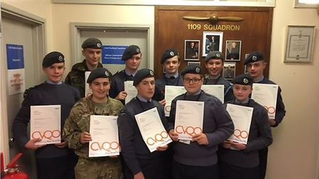 Thetford air cadets after being presented with awards from RAF Honington's station commander Group C