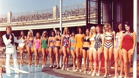 Bathing beauties line up at the outdoor Marina, probably in the 1970s, for judging in the Miss Briti