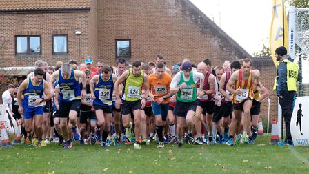 Runners jockey for early position as the Holt 10k race gets under way. Picture: NNBR