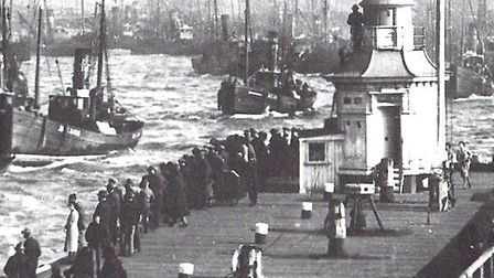 Safely home! Drifters returning to Great Yarmouth with their catches. Picture: CLIFFORD TEMPLE