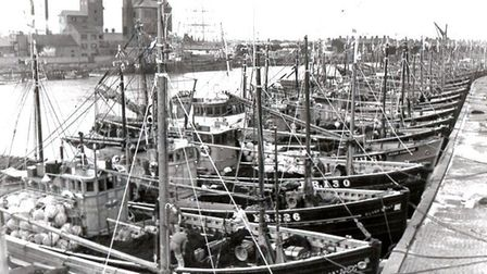 Sunday off: Scottish drifters, which did not sail on the Sabbath, line the quayside while their Yarm