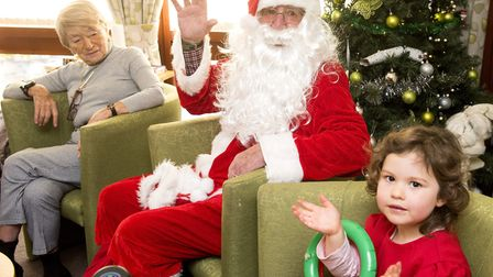 Father Christmas visits St Augustine's Place , Gorleston. The home is a housing with care scheme. Yo