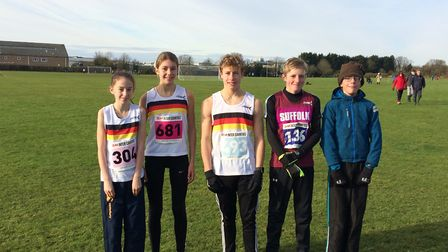 Thetford Athletics Club's contingent at the South of England Inter-Counties Cross Country Championsh