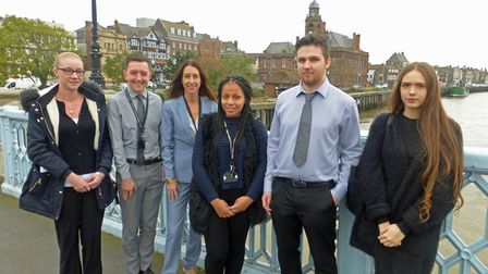 The new apprentices with council chief executive Sheila Oxtoby.Picture: GYBC