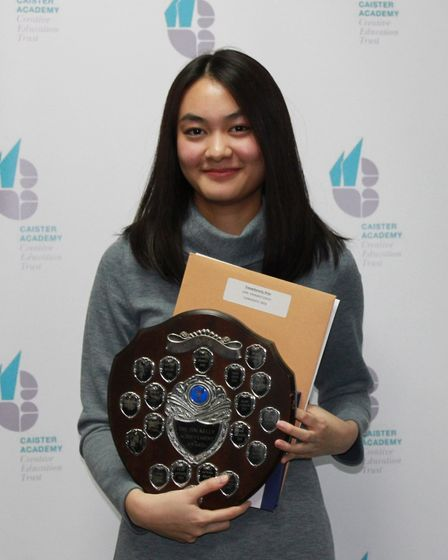 Prim Treewitanont with her Tim Kelly Achievement Award.Picture; Mel Simm/Caister Academy