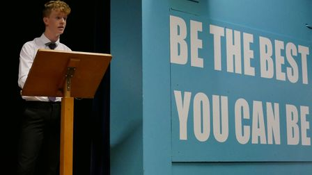 Max Burgess gives his speech.Picture: Mel Simm/Caister Academy