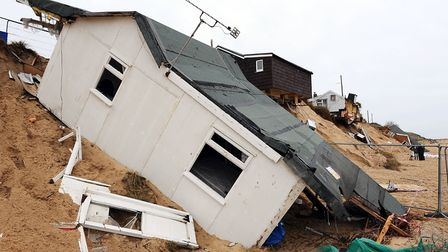 View of the homes on the Marrams in Hemsby a month on from the tidal surge. January 2014. Picture:
