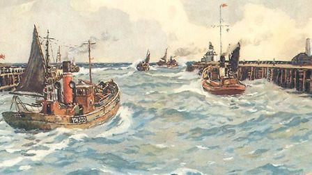 Heading out of our twin piers for the fishing grounds: the painting which sparked the search. Pictur