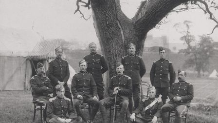 Prince Frederick Duleep Singh, right, with the Loyal Suffolk Yeomanry in Bury St Edmunds in 1901. Pi