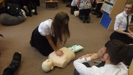 Youngsters at Caister Academy have been learning how to perform CPR. Photo: ECCH