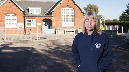 Rollesby Primary headteacher Louise Hinton outside her school that had to close for a day due to van