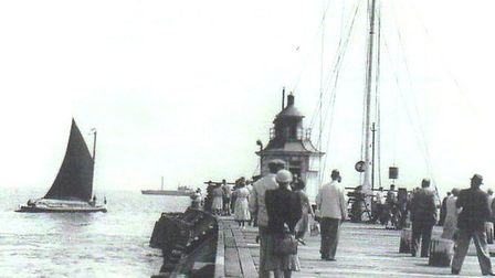 Outward bound: a wherry sails around Gorleston's old pier-head. Could she have been the Albion when,