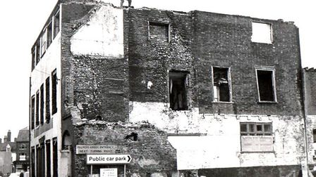 Selbourne House in Great Yarmouth's Howard Street South being demolished, possibly in the 1970s, so