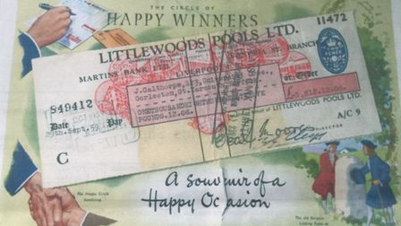 The framed cheque of the policemen's football pools win. Picture: JOHN CALTHORPE