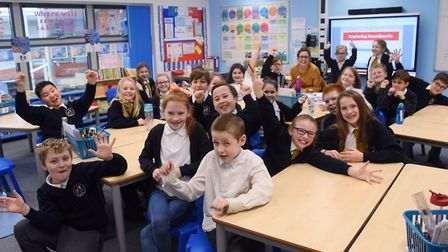 Year Five pupils in Venus class at Northgate Primary School celebrate their new classroom in the sch