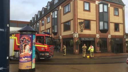 Firefighters outside the Troll Cart in Great Yarmouth. Picture: David Hannant