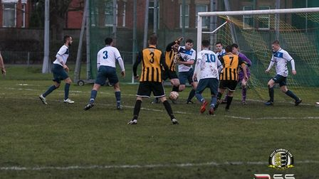 Action from Saturday's 2-2 draw between Great Yarmouth and Haverhill Borough. Picture: Darren Seely