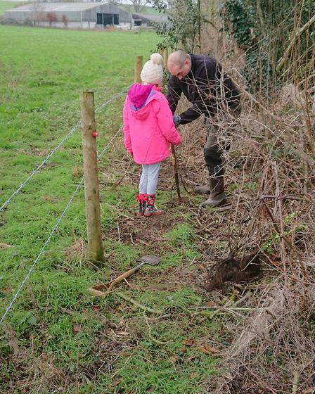 The Freethorpe junior tree wardens helped John Fleetwood plant sapling at Wrongs Covert.Picture supp