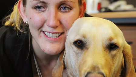 Siobhan Meade with her former guide dog Mac.Picture: James Bass