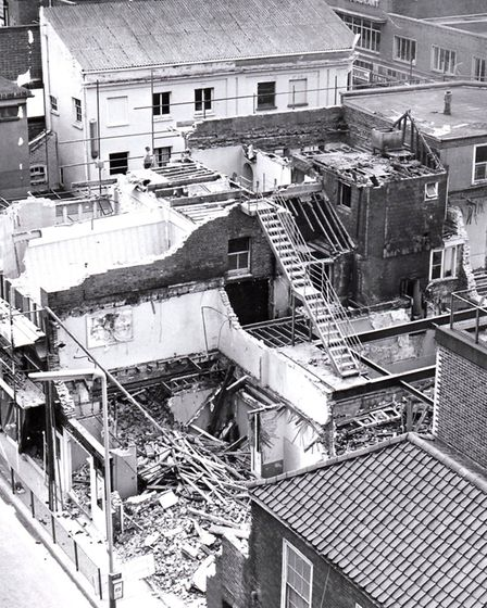 Going, going... the demolition of Diver's pub The Crown in 1967. The foreground is Theatre Plain, wi