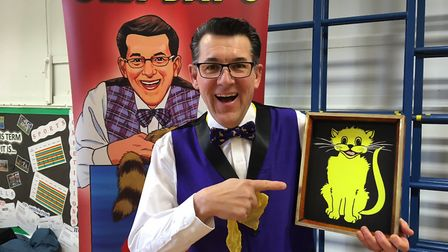 Olly Day has been performing his road saftey magic show in schools across Norfolk. Picture: Jacob Ma
