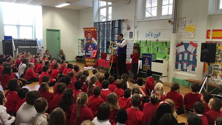 Olly Day performed his road saftey magic show in St George's Primary School in Great Yarmouth. Pictu