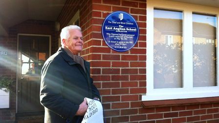 Frank Joel unveiling the commemorative plaque on the former headmasters' house in 2012. Picture: Gre
