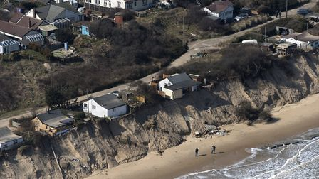An aerial view of the coastal erosion at Hemsby, March 2018. Photo: John Fielding