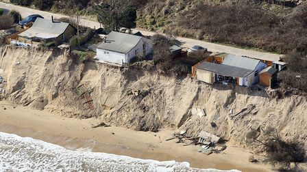 An aerial view of the erosion taking place in Hemsby, 21st March 2018. Photo: Mike Page