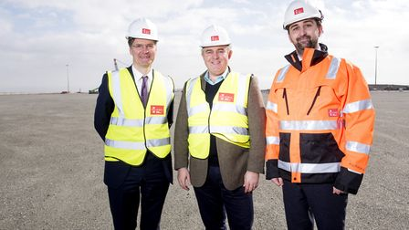 Heathrow Airport CEO John Holland-Kaye with MP Brandon Lewis and Richard Goffin, director of Peel Po