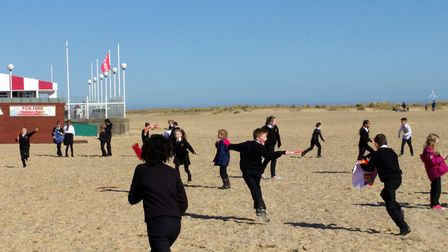 Children at St Nicholas Priory Primary School fly kites on Great Yarmouth beach. Picture provided by