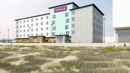 An image of what the new Premier Inn taking shape at The Edge will look like. Photo: Arch e-tech Des