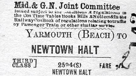 A rail ticket for the brief journey from Yarmouth Beach Station to the Newtown Halt - at the cost of