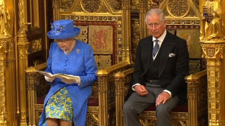 The Prince of Wales and Queen Elizabeth II during Queen's Speech in the House of Lords at the Palace