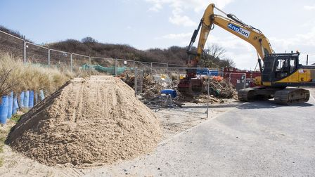 Work has started to transport sand to Hemsby beach to reinstate a sloping access ramp.Picture: Nick