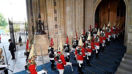 Members of the Household Cavalry ahead of the State Opening of Parliament by Queen Elizabeth II