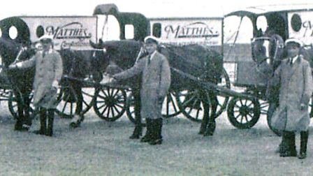 Matthes' horse-drawn delivery vans and their roundsmen line up. Picture: Chris Hopkins' Matthes Coll