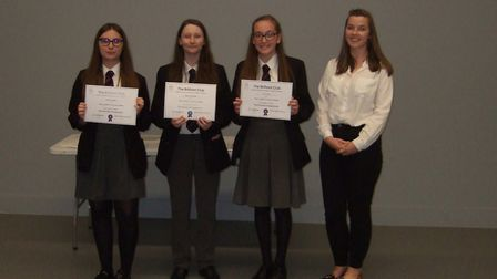 Pupils Charley Newell, Kacey Halstead and Lula Smith with club tutor Anne-Grace-Scullion. Picture: G