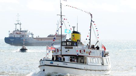 The Coronia pleasure cruiser coming into Great Yarmouth in 2010 as part of the Maritime Festival. Pi