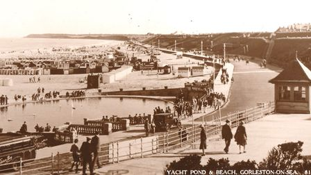Flashback: the postcard of a pre-war Gorleston beach scene, wrongly captioned by Peggotty as taken i