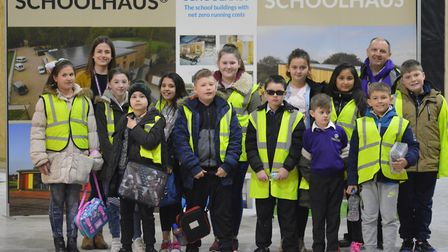 The Year 5 pupils from Edward Worlledge Ormiston Academy at the Net Zero Buildings factory.Picture: