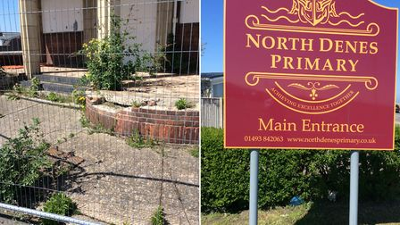 New sign for the new school to come in north Yarmouth, and the derelict Iron Duke pub nearby.