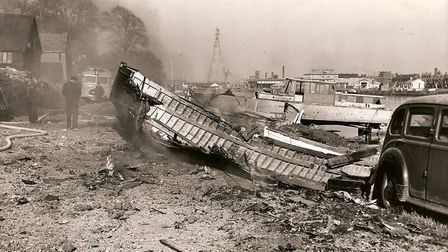 Wreckage of the US jet fighter on Gorleston riverside. The pilot ejected to safety. Picture: Mercury