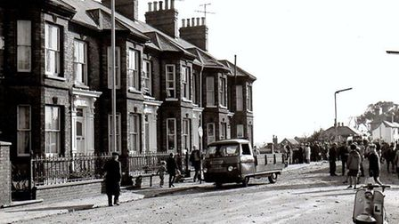 A narrow escape for the busy High Street, Gorleston, after a jet fighter crash in 1964. Picture: Mer