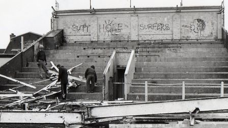 Not-so-grandstand...the Gorleston Recreation Ground facility being demolished in 1992. Picture: Merc