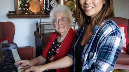 Myleene Klass with her childhood piano teacher Babs Wright at her home in Lound in 2015. Photo: Arch