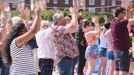 The 6000 extras on Gorleston beach enjoying the music during filming by Danny Boyle. Picture: DENISE