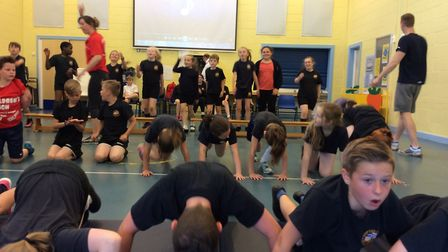 Children enjoying the circuit class with the Olypmian. Picture: Hopton Primary School