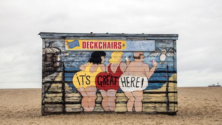 """""""It's Great Here!"""" A deckchair shed on Great Yarmouth Beach, by the Brittania Pier. November 2017. P"""